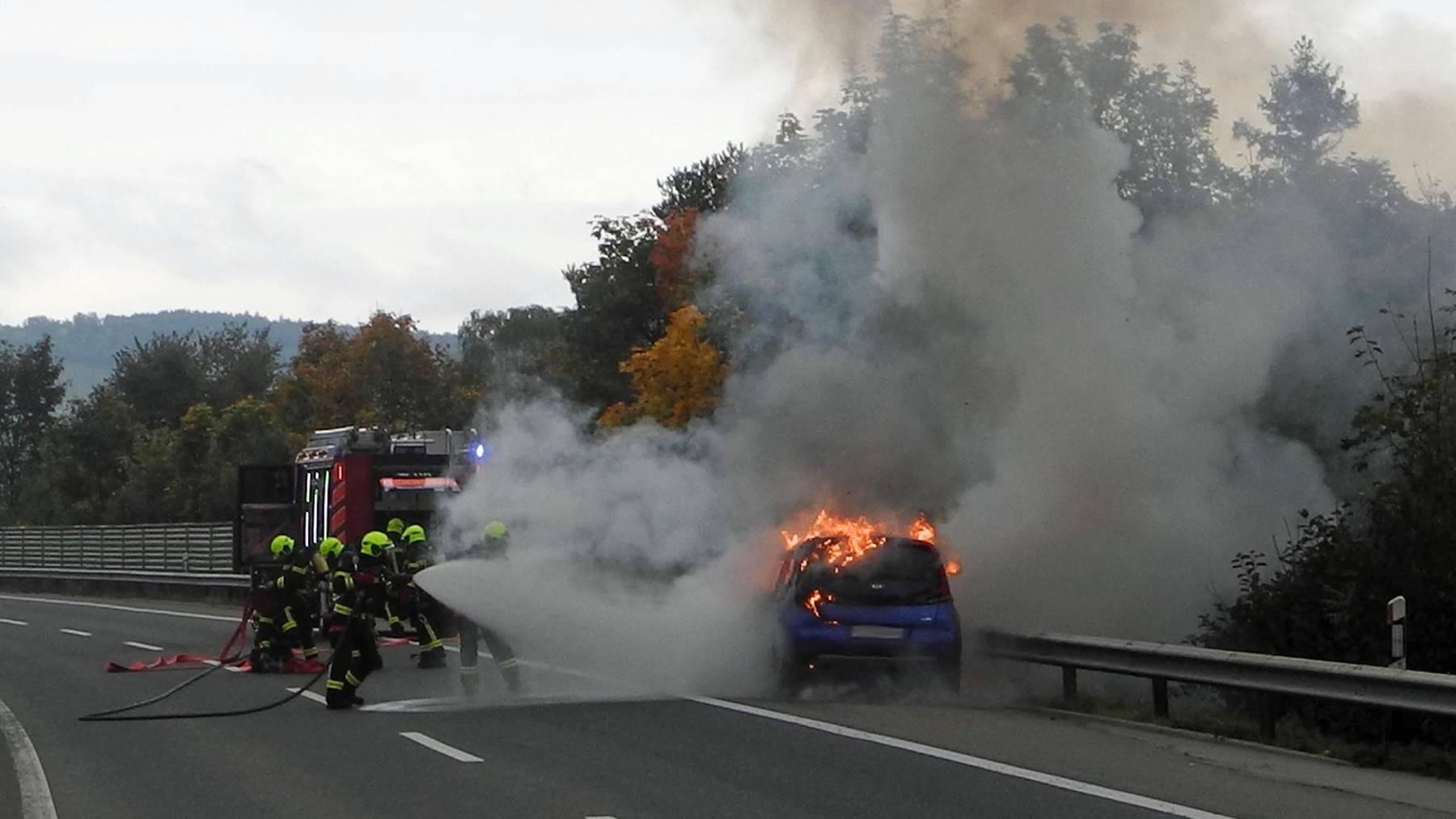 Elektroauto auf Autobahn in Goldau ausgebrannt