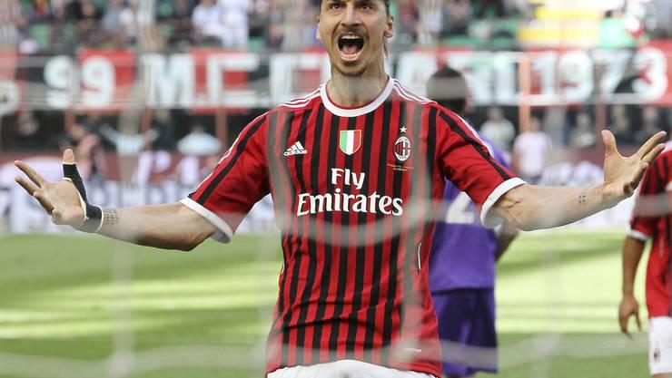 Siegespose von Zlatan Ibrahimovic: So haben ihn die Milanesi geliebt.