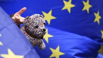 Ein EU-Befürworter hält in London einen mit Union Jacks bemalten Spielzeug-Bulldoggen zwischen EU-Flaggen in die Höhe. (Archiv)