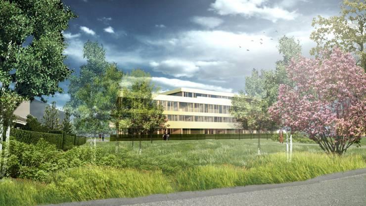 Das neue Wohnhaus im Vogelsang liegt mitten in der Natur, verspricht die Visualisierung. zvg