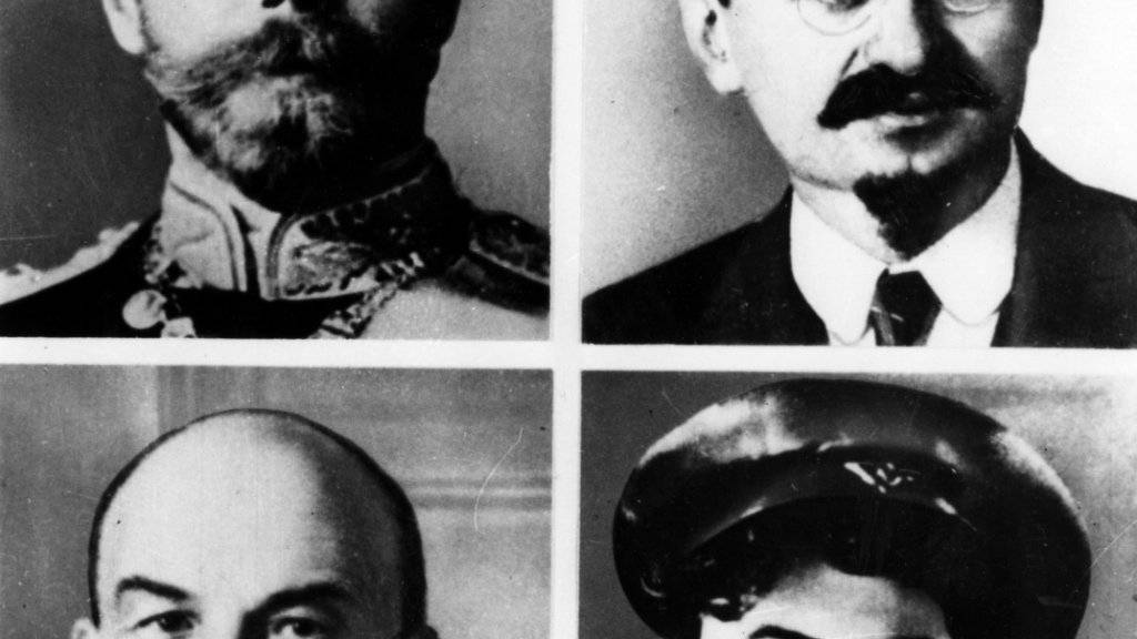 Die vier Schlüsselfiguren im Russland des Revolutionsjahres 1917 - und danach (von links oben im Uhrzeigersinn): Zar Nikolaus II., Leo Trotzki, Josef Stalin und Wladimir Lenin.