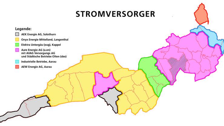 In der Übersicht die unterschiedlichen Stromversorger der Region Olten.
