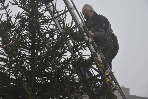 Um wenigstens einen Teil der Tradition zu retten, entschied sich der Vorstand dazu, einen sechs Meter hohen Weihnachtsbaum aufzustellen.