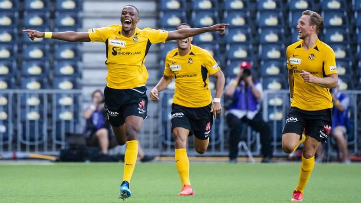 YBs Christopher Martins, freut sich nach seinem Tor im Halbfinalspiel des Schweizer Fussball Cup zwischen dem BSC Young Boys und dem FC Sion,