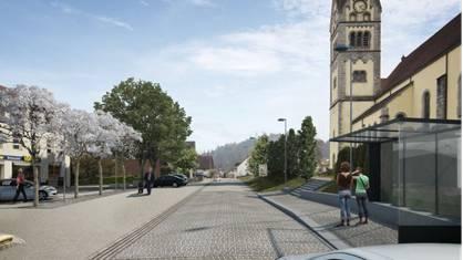 Visualisierung der künftigen Dorfstrasse zwischen Kirche und Gemeindehaus. ZVG