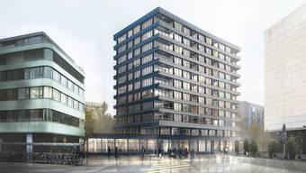 Die Bildmitte der Visualisierung zeigt eines der fünf geplanten neuen Gebäude auf dem Brauerei-Areal.