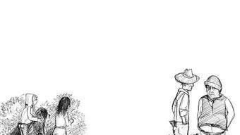 Die Kinder belauschen die beiden Bösewichte Masto Geppo und Spatuzzo