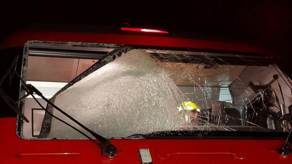 Ein Eisblock hat in der Nacht auf Donnerstag die Frontscheibe einer Lokomotive durchschlagen.