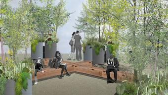 """Holzbänke und Sträucher sollen das Gefühl eines """"Urban Forest"""" vermitteln. Nun muss die Stadt Winterthur die Neugestaltung des Merkurplatze verschieben."""