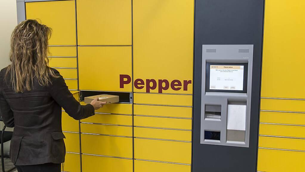 Paketautomat der Post am Hauptsitz in Bern (Aufnahme aus dem Jahr 2013).