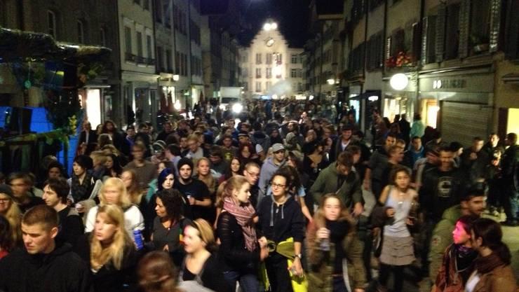 Die friedliche Demonstration in der Altstadt von Aarau..