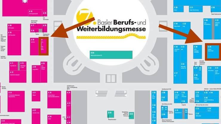 Der Hallenplan der Berufsmesse. Links die sechs Life-Science-Firmen, rechts der Kanton mit seinen Lehrstellen innerhalb der Verwaltung.