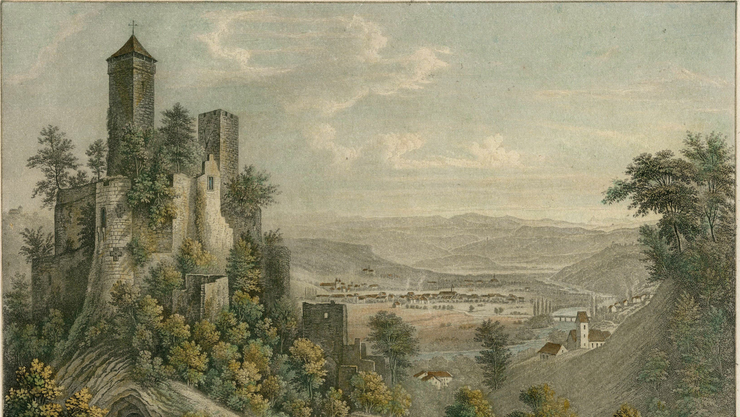 Der Basler Maler Anton Winteler macht die Burg Rötteln in seiner Lithografievorlage zum romantischen Symbol.