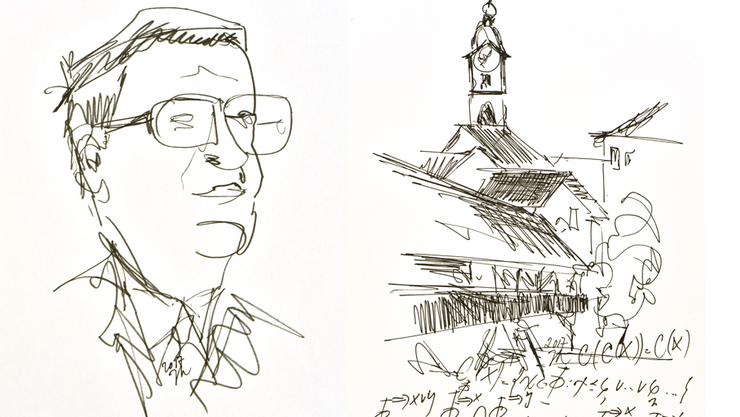 orträt Hans Künzis und eine Ansicht Oltens mit Holzbrücke und Ildefonsturm aus der Hand von Jürg Kohlas.