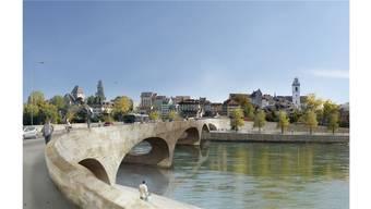 Der «Pont Neuf» soll so die Verbindung zur Altstadt herstellen. Rechts ist einer der umstrittenen Brückenaufgänge zu sehen. Heute stehen dort mehr Bäume (Visualisierung).