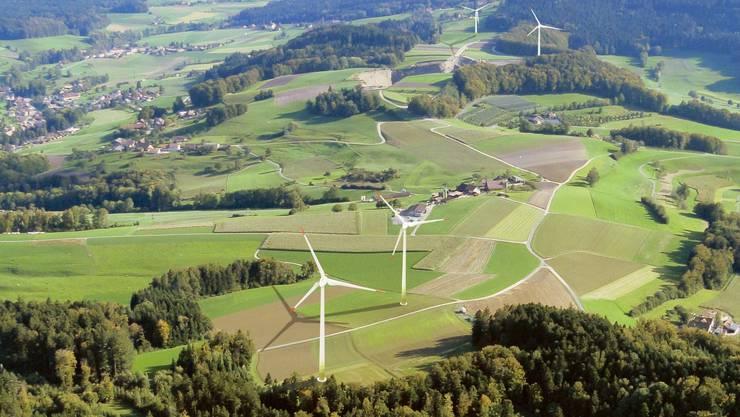 Die Visualisierung des Windparks auf dem Gemeindegebiet von Kirchleerau und Triengen LU.