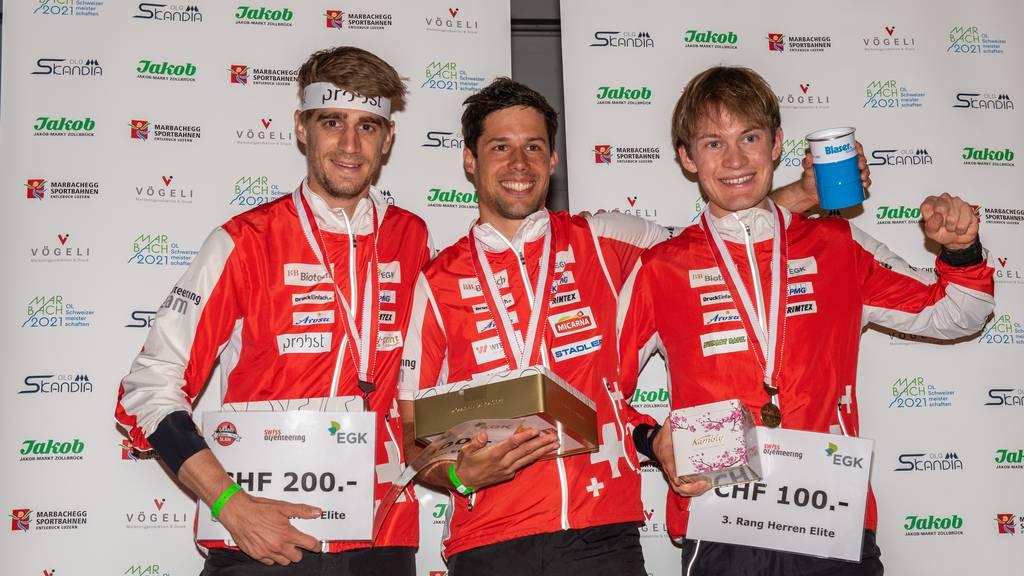 Podest Herren Elite, v.l. Florian Howald, Martin Hubmann, Reto Egger. Foto von Susi Schlatter.