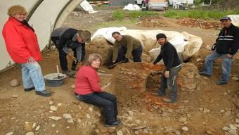 Danach wurden sie in sorgfältiger Handarbeit von den Mitgliedern des Vereins pro römische Geschichte Laufenburg abgetragen.