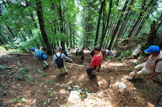 """9. Etappe: Nach der Aussicht auf dem Hellchöpfli gings steil """"s' Loch durab""""."""