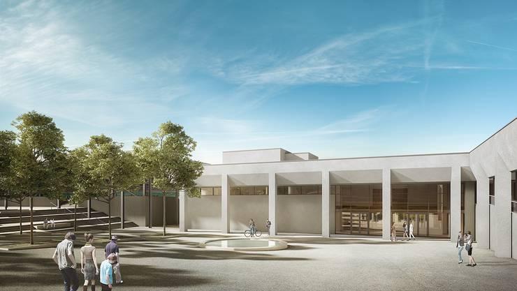 So sollen Vorplatz und Eingangsbereich des Sport- und Erholungszentrums Tägerhard nach der Sanierung aussehen.