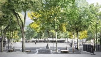 Der Brown-Boveri-Platz soll Hauptveranstaltungsplatz und ein Alleskönner werden. (Visualisierung).ZVG