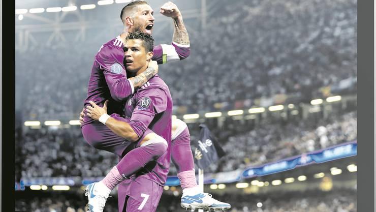 Auf welchem Sender jubelt Cristiano Ronaldo? Wahrscheinlich nicht mehr auf SRF, doch das Schweizer Fernsehen gibt sich noch nicht geschlagen.  Fotos: Reuters/Shutterstock; Montage: NCH