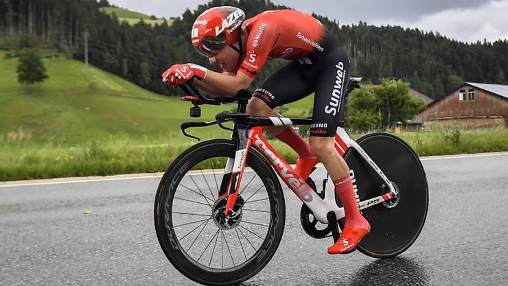 Die 2. Etappe führt durch das Trainingsgebiet des Berners Marc Hirschi - im Bild während des Zeitfahrens vom Samstag