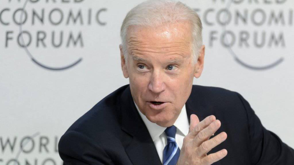 US-Vizepräsident Joe Biden am Dienstag an einer Diskussionsrunde zum Thema Krebs mit US-Wissenschaftlern zum Auftakt des Weltwirtschaftsforums (WEF) in Davos.