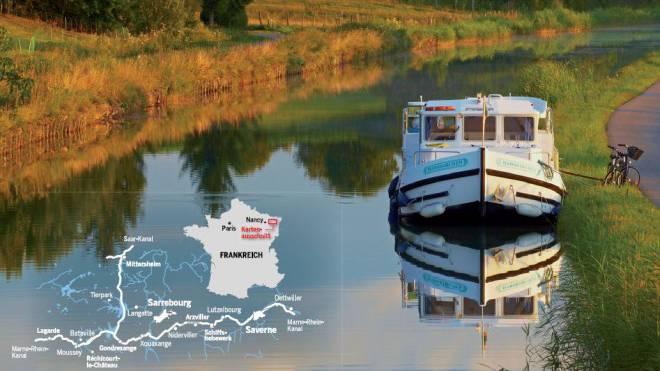 Hausbootferien auf einer Pénichette im Elsass: Die grosse Freiheit, einfach zu ankern, wo es gerade gefällt. Brigitte Merz / Look-Foto, Grafik: SAS, J. Dreier