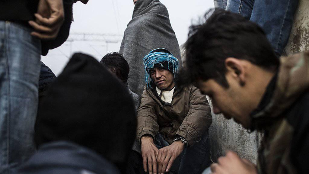 Afghanische Flüchtlinge wärmen sich über einem Feuer die Hände in Serbien. Erstmals sind Flüchtlinge auf der Balkanroute von Slowenien über Kroatien nach Serbien zurückgeschickt worden. (Archiv)