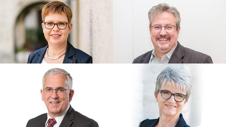 Ruth Müri (Grüne), Beat Flach (GLP), Maya Bally (BDP) und Roland Frauchiger (EVP)