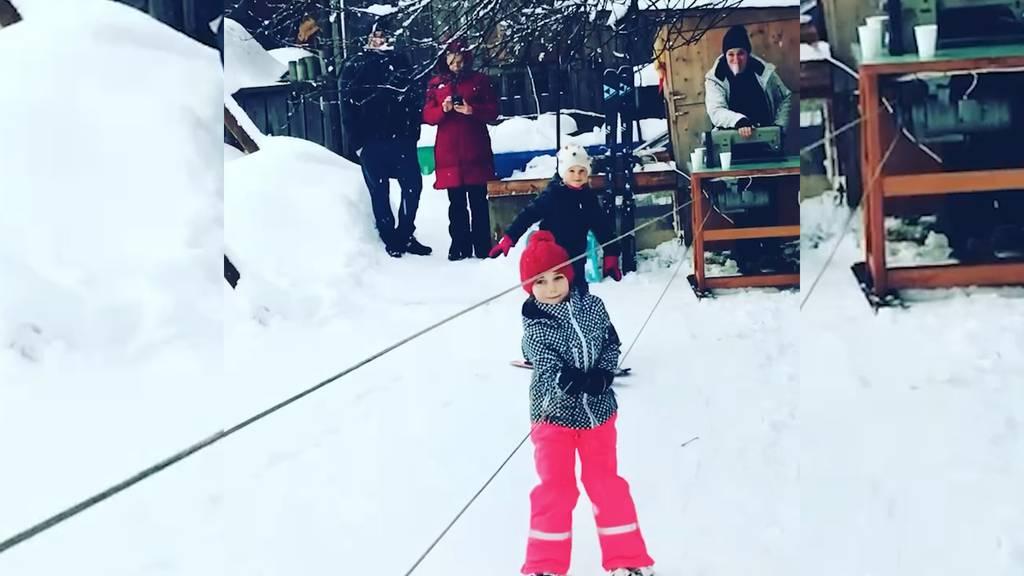 Aus Nähmaschine: Mutter baut Skilift für 6-jährige Tochter