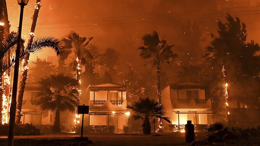Häuser und Bäume stehen in der Nähe von Korinth in Flammen. Im Westen der griechischen Hauptstadt Athen kämpfen Feuerwehr und die Besatzungen von acht Löschflugzeugen und drei Hubschraubern gegen einen großen Wald- und Buschbrand. Foto: Valerie Gache/AP/dpa