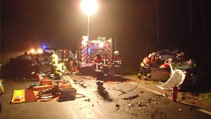 Die Bergung der Opfer auf der Unfallstelle zwischen Seon und Schafisheim in der Nacht vom 1. auf den 2. November 2014. HO
