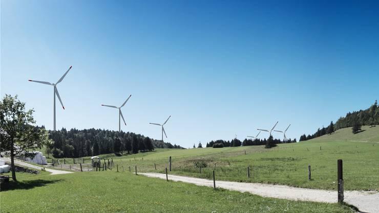 Windpark Grenchenberg: Visualisierung des geplanten Windparks vom Obergrenchenberg aus gesehen. (Archiv)