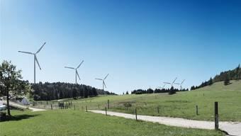 Windpark Grenchenberg: Visualisierung des geplanten Windparks vom Obergrenchenberg aus gesehen.