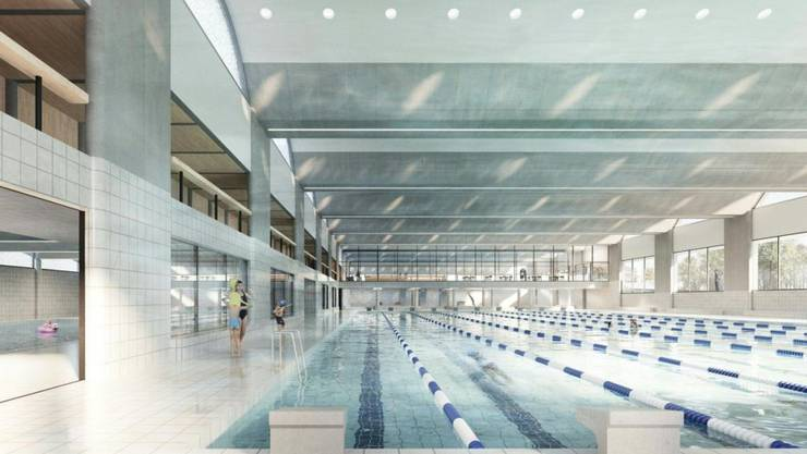 Die geplante 50-Meter-Schwimmhalle von innen.