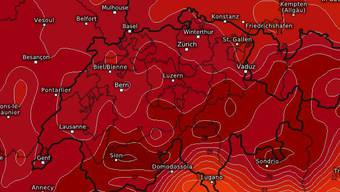 Das Temperaturbild vom Wetterdienst Kachelmann.com zeigt die bevorstehende Hitzewelle.