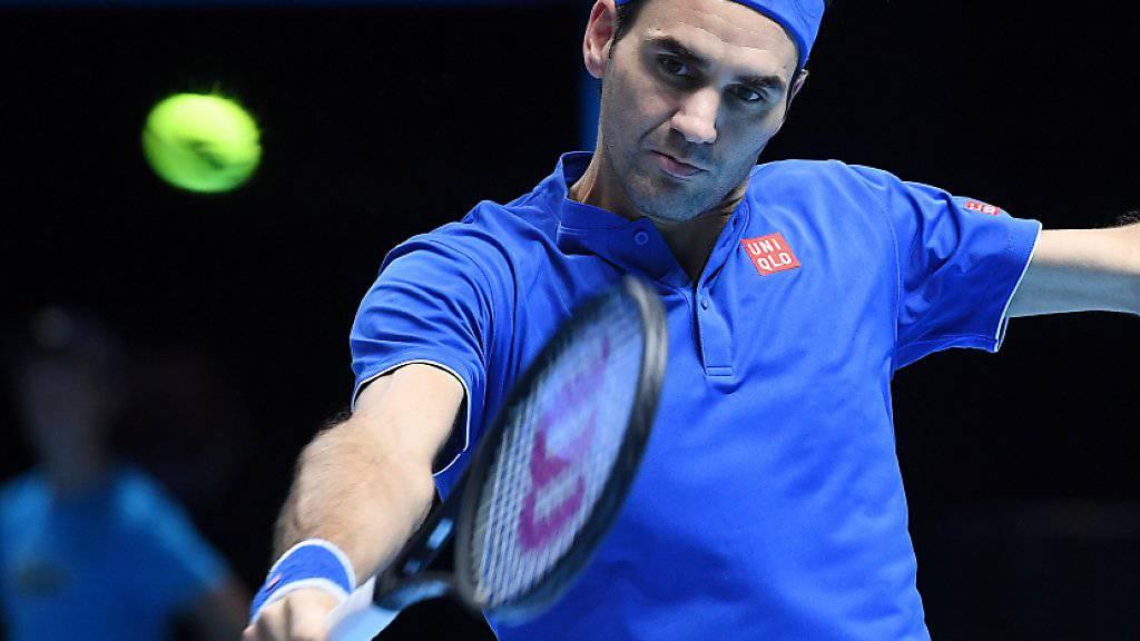 Mit dem Satzgewinn gegen Kevin Anderson hatte Roger Federer den Halbfinal-Einzug bereits geschafft, doch er wollte auch noch den Sieg gegen Kevin Anderson und den Gruppensieg