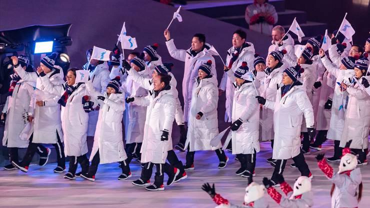Abordnung zwischen Nord- und Südkorea: Die beiden Länder kommen sich – zumindest sportlich – an den Olympischen Spielen in Pyeongchang näher.