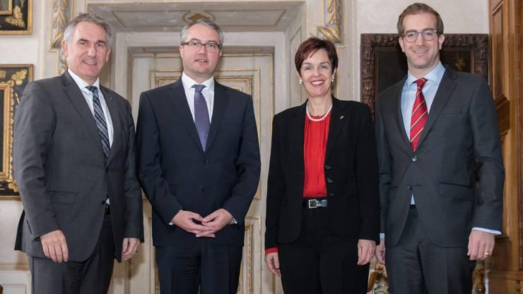 v.l.n.r.: Landammann Alex Hürzeler (AG), Regierungsrat Remo Ankli (SO), Regierungsrätin Monica Gschwind (BL) und Regierungsrat Conradin Cramer (BS).