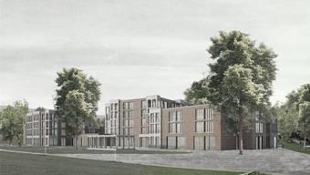 Das Siegerprojekt «Margerite» sieht diesen Neubau für das Alterszentrum Würenlos auf der Zentrumswiese vor. Visualisierung: zVg