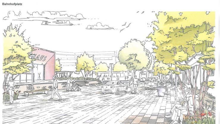 Viel Grün: So soll der Bahnhofplatz Grenchen Süd in einigen Jahren aussehen.