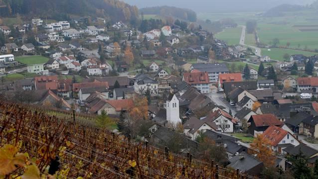 Blick vom Rebberg auf die Gemeinde Remigen.