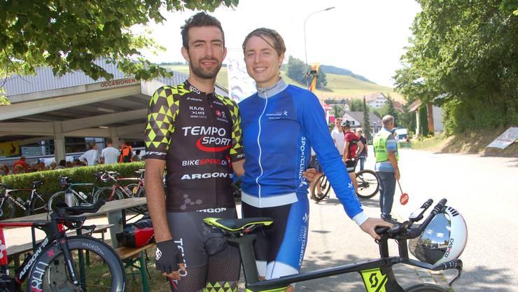 Doppel-Schweizermeisterin Marlen Reusser starte mit Badreddin Wais und war schneller, als mancher Fricktaler Vierer.