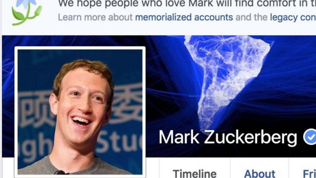 Sogar den CEO hat es erwischt: Mark Zuckerberg von Facebook-Panne betroffen, die bei mehreren Nutzern eine Todesnachricht anzeigte. (Screenshot)