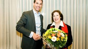 FDP-Präsident Thierry Burkart mit «seinem Zugpferd» Christine Egerszegi. Emanuel Freudiger