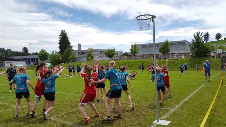 Die Bözberger Frauen (rot) blicken auf eine äusserst erfolgreiche Korbballsaison zurück und schaffen den Aufstieg in die Nationalliga A. zvg