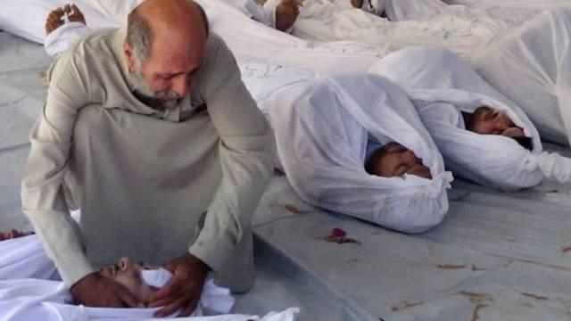 Bei einem mutmasslichen C-Waffenangriff in Syrien getötete Personen