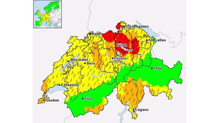 Die Unwetterzentrale Schweiz hat für einige Regionen im Aargau eine Unwetterwarnung der Stufe Rot herausgegeben.